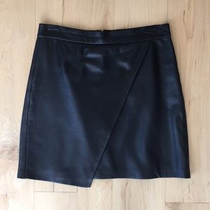 Madewell genuine leather wrap skirt